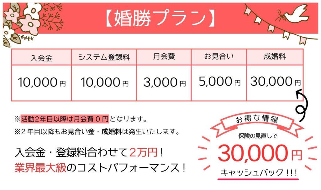 婚勝NAVIの婚活プラン/格安2年目以降は月会費0円